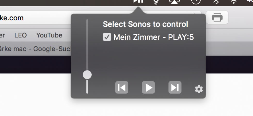 Zum Mittag: Apfellike Leser bastelt Sonos Lautstärke Regelung für Mac Menü-Leiste