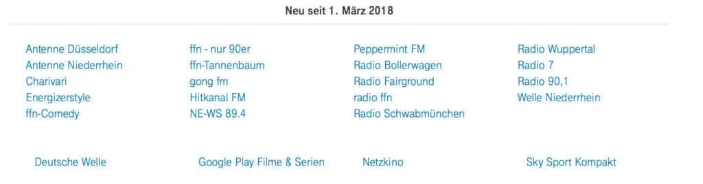 Telekom StreamOn - März 2018 - Deutsche Telekom - Screenshot