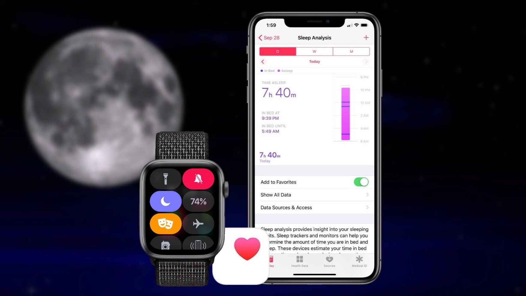 Sleep-Tracking auf der Apple Watch Series 4 - Screenshot / 9to5Mac