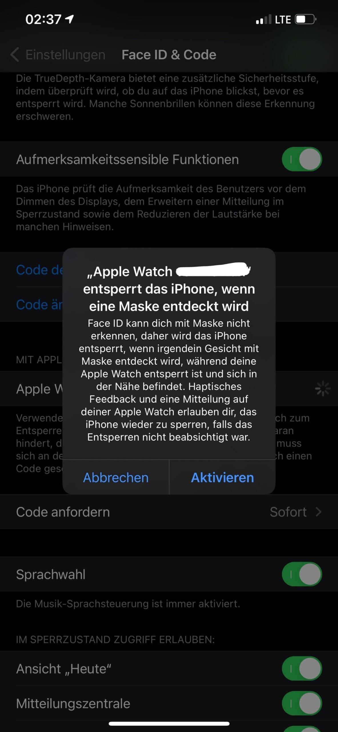 Mit Apple Watch entsperren - Screenshot